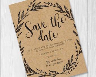 Rustic / Kraft / Boho / Chic / Save the Date Wedding Invite / Print or Digital Download