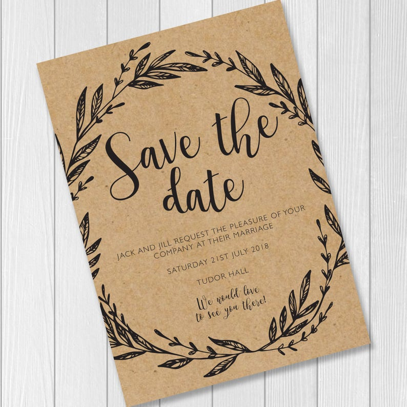 Rustic / Kraft / Boho / Chic / Save the Date Wedding Invite / image 0