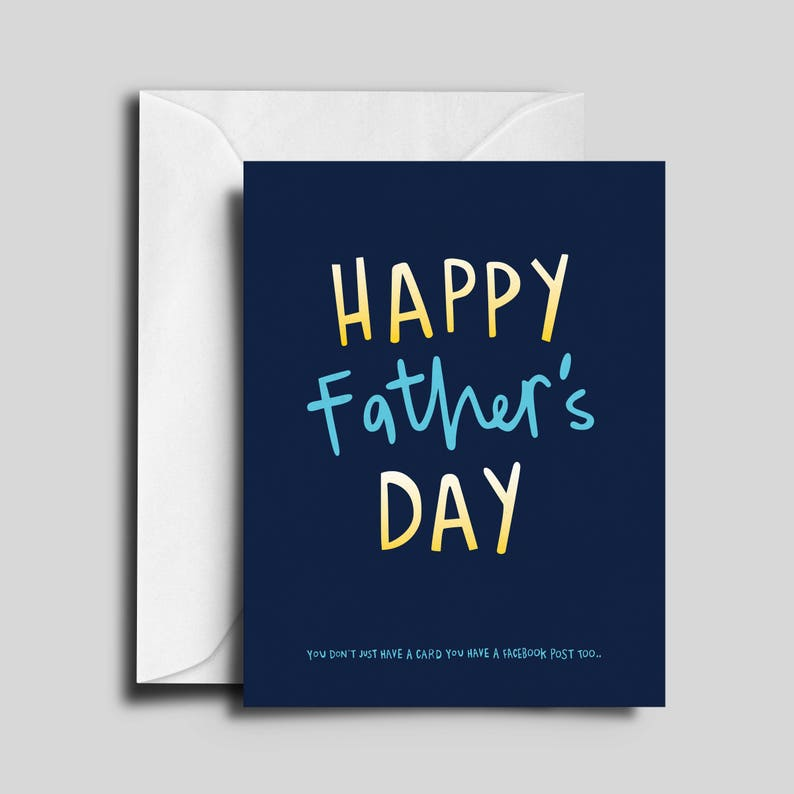 Happy Father's Day Blue & Yellow Greeting Card image 0