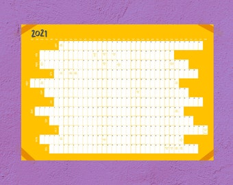 2021 Wall Calendar Year Planner / Personalised Family School Student Work Present
