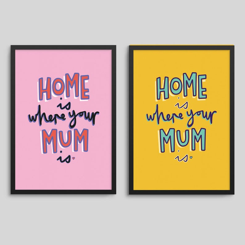 Home Is Where Your Mum Is  Mother's Day Print gift wall image 0