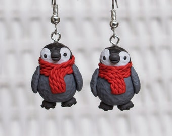 Penguin Clay Earrings, Polymer Clay Penguin  Earrings, Baby Penguin Polymer Clay, Holiday Season Earrings, Winter Clay Earrings, Winter Clay