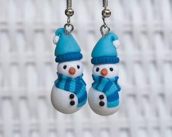 Snowman Earrings, Snowman Polymer Clay Earrings, Polymer Clay Jewelry, Handmade Clay Earrings, Winter Earrings, Holiday Season Earrings