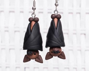 Bat Earrings, Halloween Earrings, Polymer Clay Bat Earrings, Handmade Clay Bat Earrings, Flying Fox Earrings, Animal Clay Earrings, Bat Clay