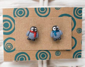 Penguin Christmas Earrings, Penguin Polymer Clay Earrings, Penguin Stud Earrings, Christmas Stud Earrings, Penguin Clay, Holiday Season Stud