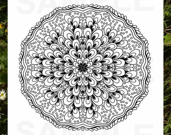 Mandala, Coloring in pages, Handmade, Relaxing coloring, 4 pages instant download
