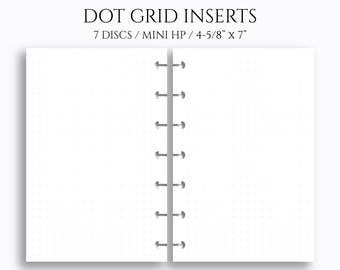 """Dot Grid Inserts, Dotted Filler Paper ~ 4.6"""" x 7"""" Discbound / Mini Happy Planner (MHP-D)"""