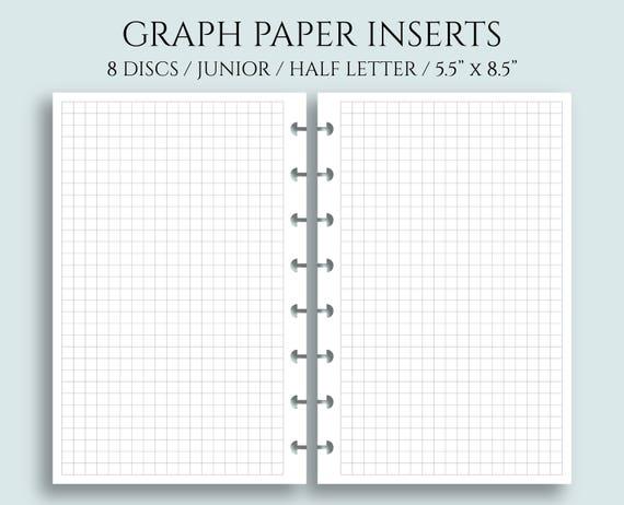 graph paper inserts grid filler paper half letter size etsy