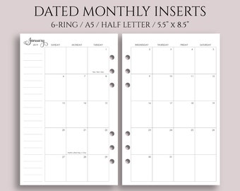 "July 2018 - Dec 2019 Dated Monthly Calendar Planner Inserts, Sunday Start, MO2P ~ Half Page / A5 / 5.5"" x 8.5"" for Filofax Rings (A5-MSS)"