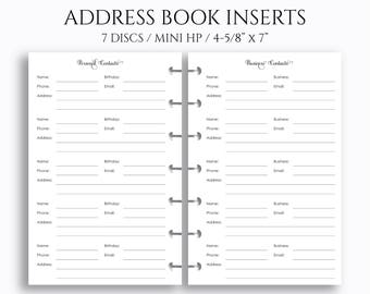 """Address Book Inserts, Personal and Business Contacts Pages, Phone Book and Addresses ~ 4.6"""" x 7"""" Discbound / Mini Happy Planner (MHP-CP)"""