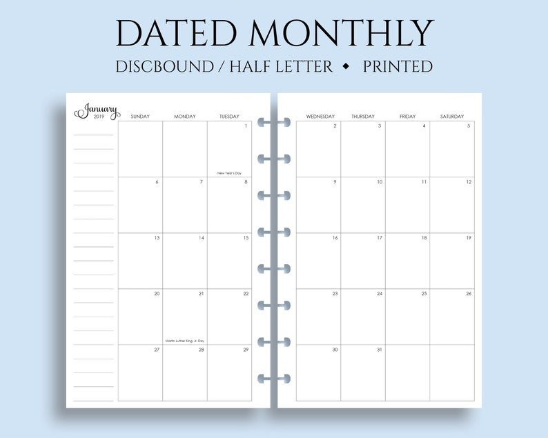 Dated Monthly Calendar Planner Inserts Sunday Start Optional image 0