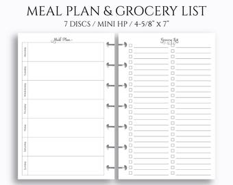 """Weekly Meal Planning and Grocery Shopping List Planner Inserts ~ 4.6"""" x 7"""" Discbound / Mini Happy Planner (MHP-MPGL)"""