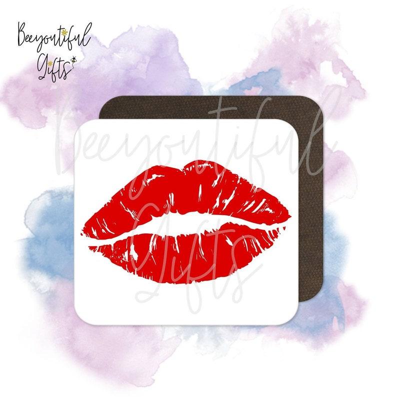 Red Lipstick Mark High Gloss Wooden Coaster