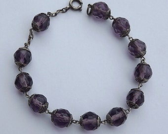 Communion Bracelet - French Religious Rosary - Faceted Purple Crystal All Capped Beads and Sterling Silver - Communion Gift Bracelet