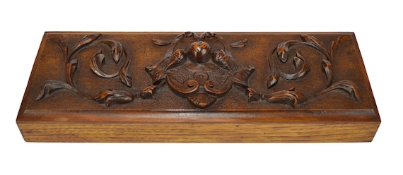 Furniture Salvage Wood Pediment Panel 19th French Antique Hand Carved Walnut Wooden Drawer Pull Front DIY Upcycled Wood