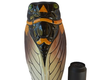 "Large Vintage French  Vallauris Majolica Wall Pocket -13.39""- Cicada Wall Vase - South of France - Provence Souvenir - Shabby Chic French"