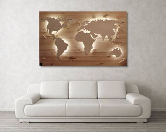 "World map Scott-""Birch""-Real wood & lighting"