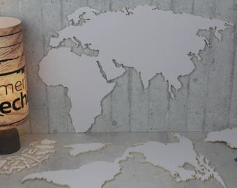 """DIY build your own world map wooden continents & countries - world map wooden """"White""""!"""