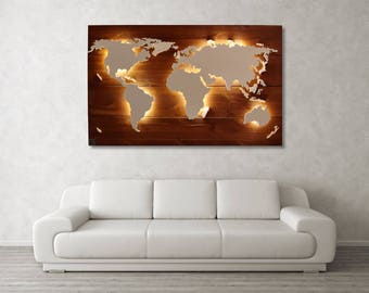 "World map Scott-""teak""-Real wood & lighting"