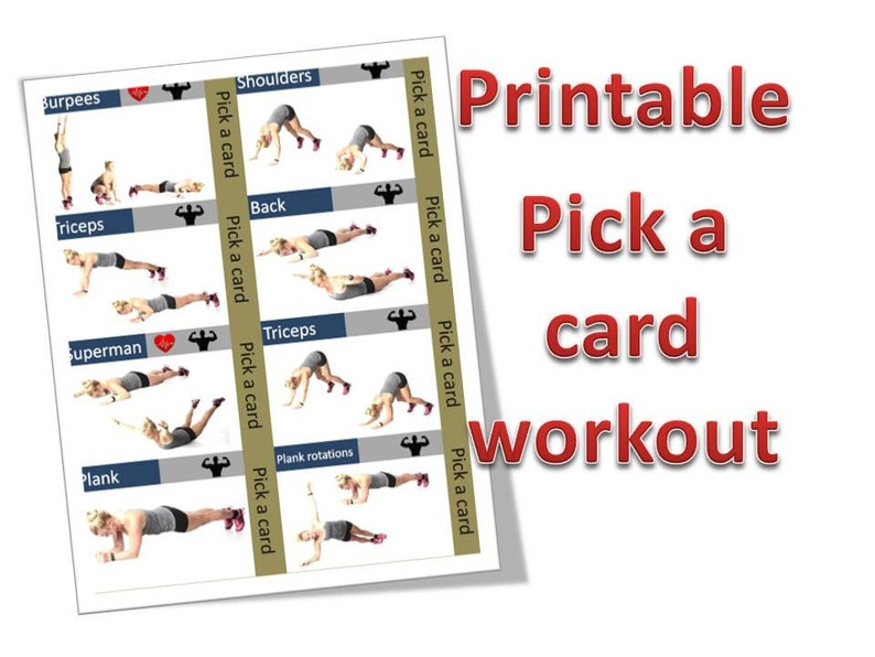 graphic about Printable Exercise Cards identify Printable Exercise routine playing cards. A4 dimension. Amount of 28 health playing cards.