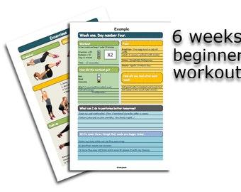 Downloadable Workout plan - Six weeks beginner workout. A4 PDF