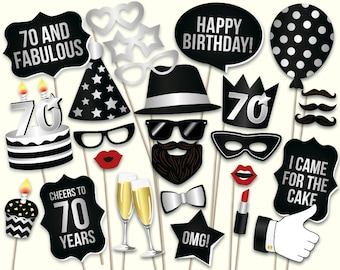 70th Birthday Photo Booth Props Printable PDF Black And Silver Seventieth Party Supplies Mustache Lips Glasses