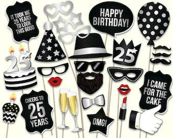 25th Birthday Photo Booth Props Printable PDF Black And Silver Twenty Fifth Party Supplies Instant Download Digital