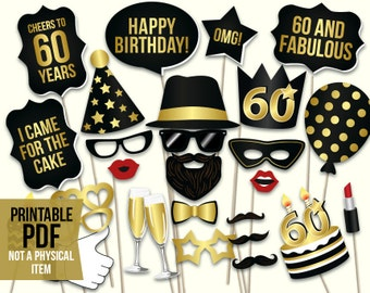 60th Birthday Photo Booth Props Printable PDF Black And Gold Sixtieth Party Supplies Instant Download Mustache Lips Glasses