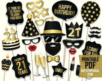 21st Birthday Photo Booth Props Printable PDF Black And Gold Decorations Party Supplies Mustache Lips Photobooth