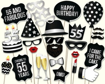 55th Birthday Photo Booth Props Printable PDF Party Turning 55 Black And Silver Ideas Years Old