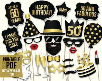 50th Birthday Photo Booth Props Printable PDF Black And Gold Fiftieth Party Supplies Instant Download Mustache Lips Glasses