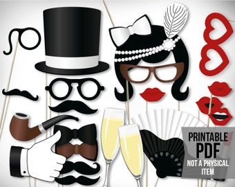 vintage photo booth props printable pdf classic roaring 20s photo booth props black and white photobooth props gatsby photo booth props