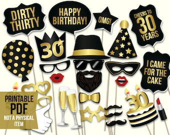 55e7b82315c5 30th birthday photo booth props  printable PDF. Black and gold. Dirty  thirty props. Thirtieth birthday party supplies. Mustache