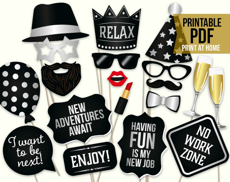 graphic regarding Photo Props Printable called Retirement picture booth props: printable PDF. Retirement get together Programs. Retirement celebration decorations decor. Electronic retirement photograph props