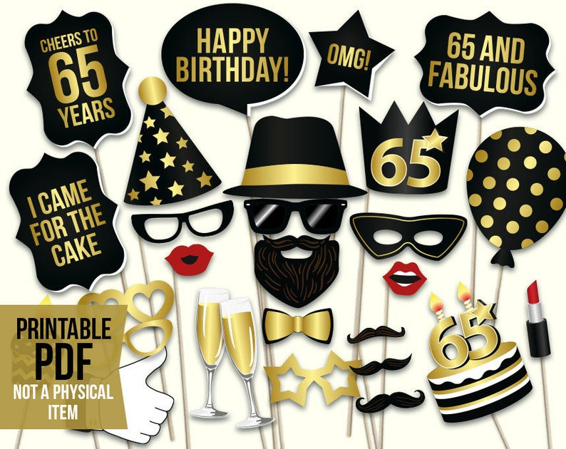 picture about Photo Booth Props Printable Pdf identify Birthday picture booth props: printable PDF. Black and gold birthday get together products. Instantaneous down load. Mustache, lips, gles, satisfied birthday
