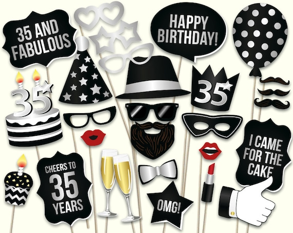 35th Birthday Photo Booth Props Printable Pdf Black And Etsy