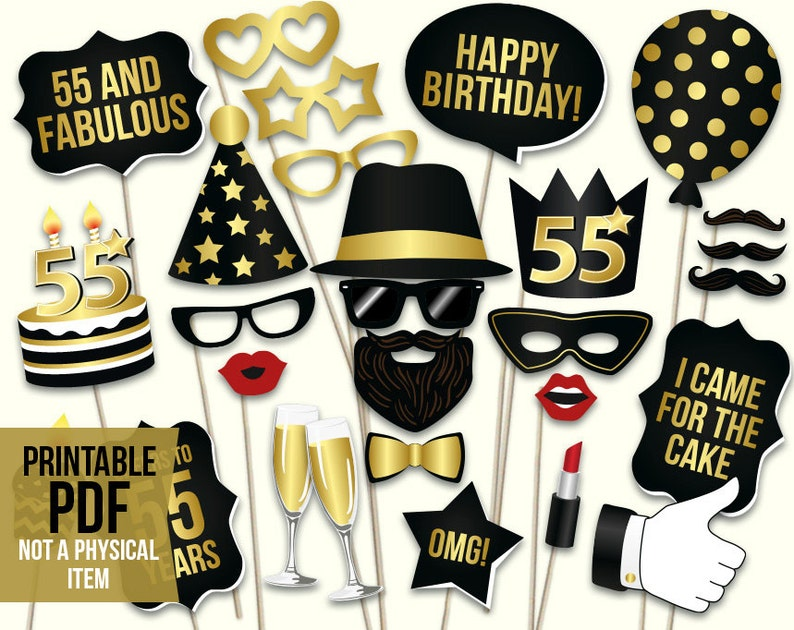 55th Birthday Photo Booth Props Printable PDF Black And Gold Fifty Fifth Party Supplies Instant Download Mustache Lips Glasses