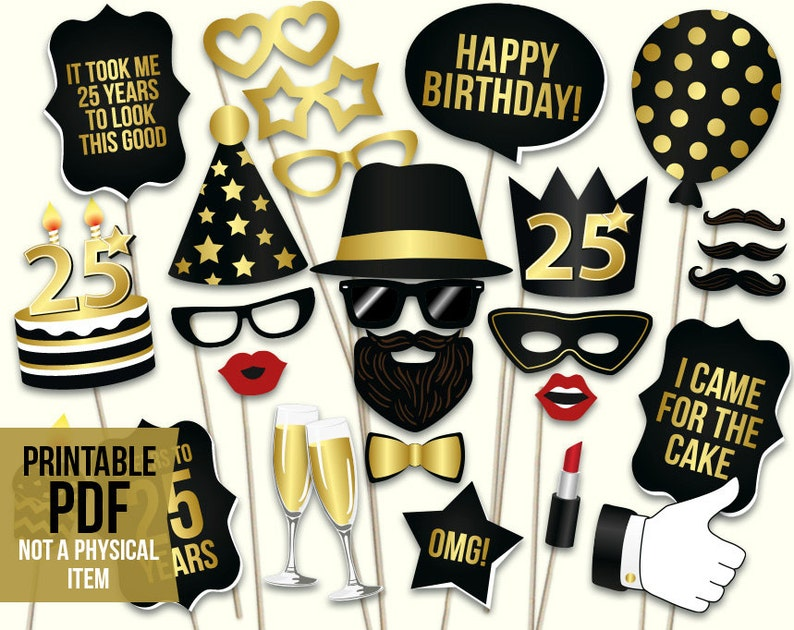 25th Birthday Photo Booth Props Printable PDF Black And Gold