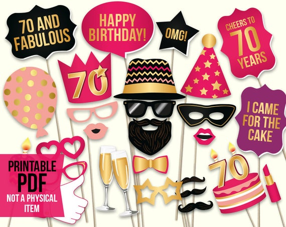 70th Birthday Photo Booth Props Printable PDF Hot Pink And