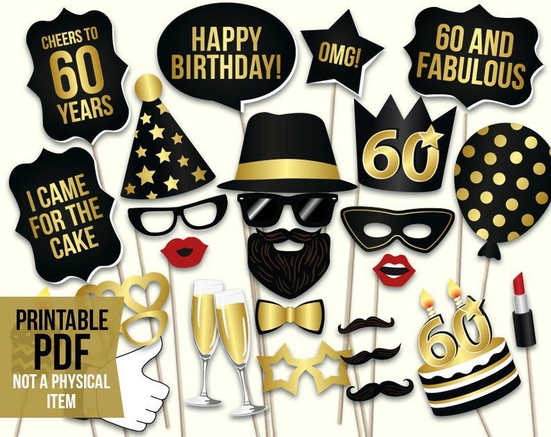 60th Birthday Photo Booth Props Printable PDF Black And Gold