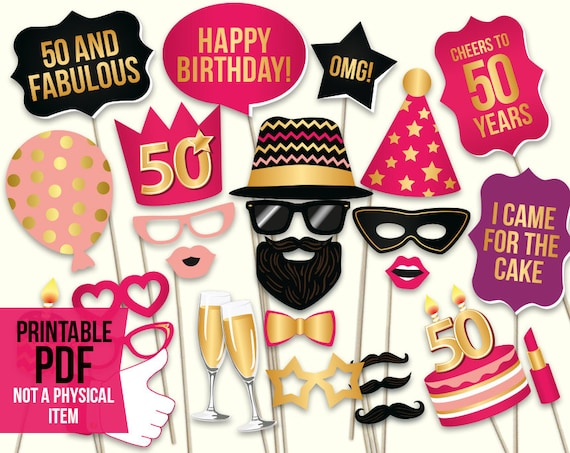 50th Birthday Photo Booth Props Printable Pdf Hot Pink And Etsy