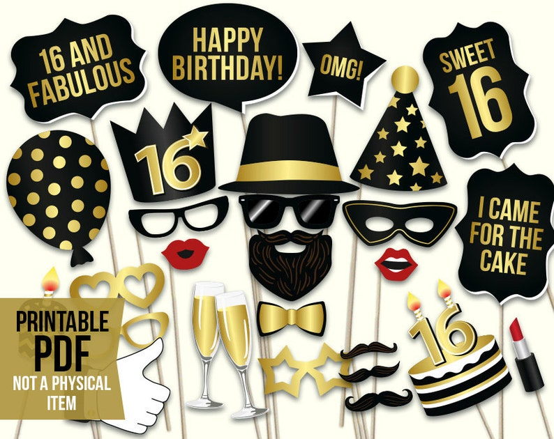 picture about Photo Booth Props Printable known as Cute 16 picture booth props: printable PDF. Cute 16th birthday props. Black and gold teenage birthday bash selfie station picture props