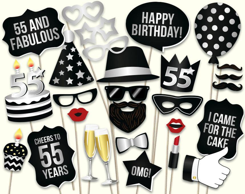 55th Birthday Photo Booth Props Printable PDF