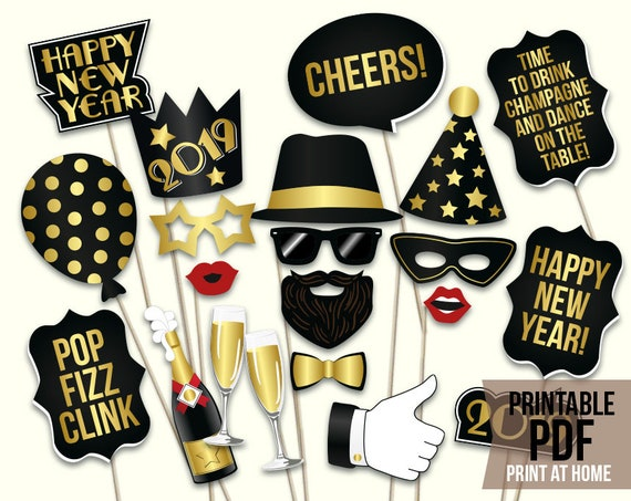 New Years Eve Props Printable Pdf 2019 New Years Eve Photo Etsy