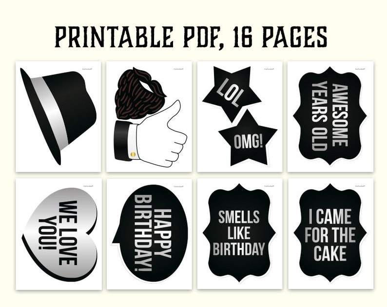 Black and gold birthday party supplies Birthday photo booth props: printable PDF Mustache Instant download glasses happy birthday