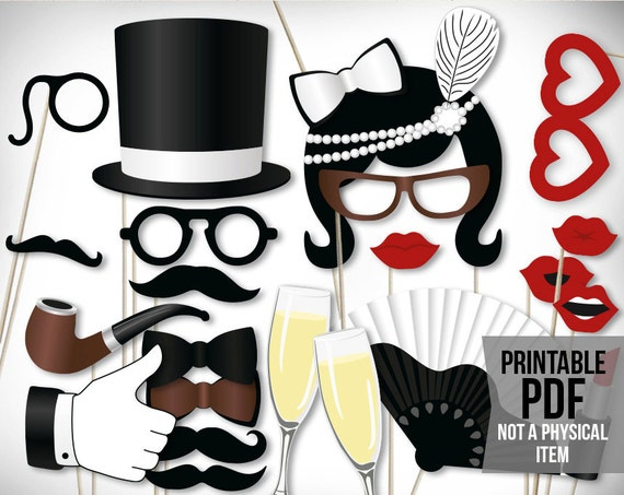 Vintage Photo Booth Props Printable Pdf Classic Roaring 20s Etsy
