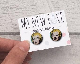 Marilyn Monroe Earrings, Marilyn Studs, pop art stud earrings, pop art jewellery, pop art Marilyn earrings, Roy Lichtenstein style pop art
