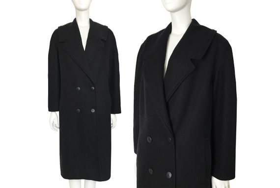 Vintage black boiled wool minimalist double breast