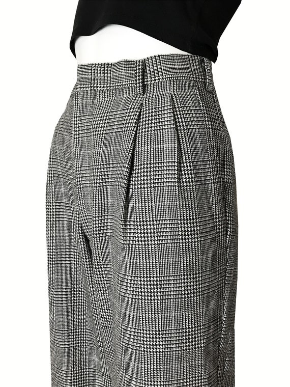 100% wool glen check pleated trousers / Japanese … - image 5