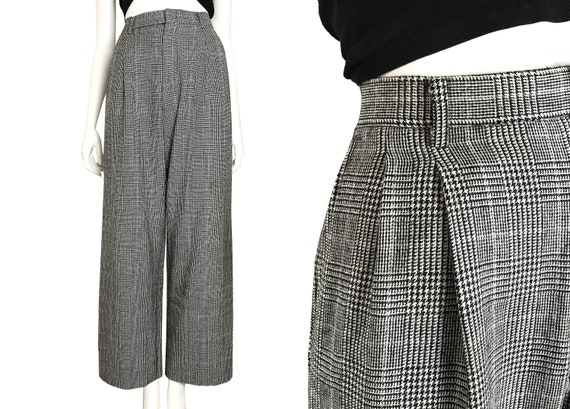 100% wool glen check pleated trousers / Japanese … - image 1